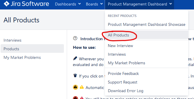 Product Management Dashboard Alle Produkte