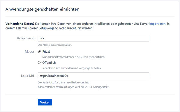 JIRA auf windows installieren