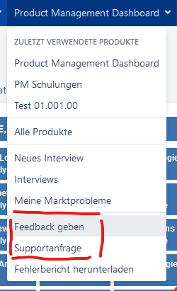Product Management Dashboard Support und Feedback